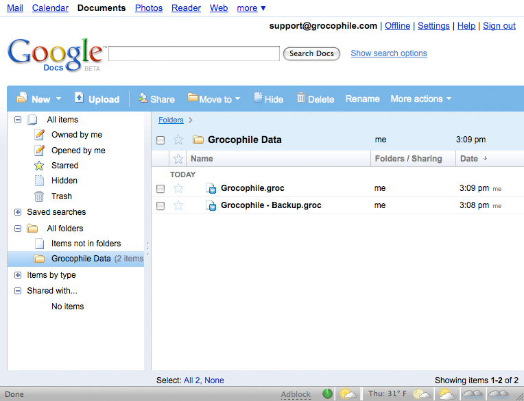 Google Documents account page showing two Grocophile backup files