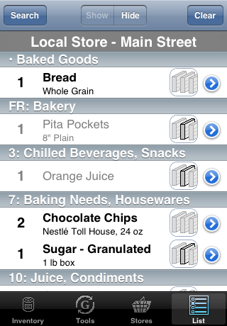shopping list with completed items showing