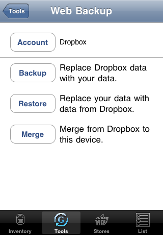 dropbox account selected